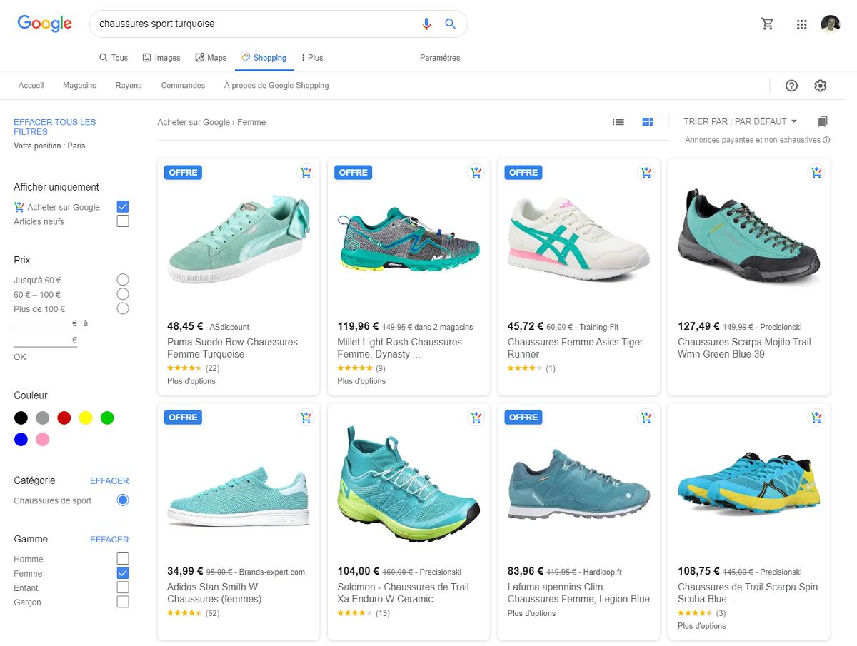 Recherche Google Shopping